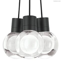 Hollins 3-Light  LED  Pendant Finish: Black, Shade Color: Black/White