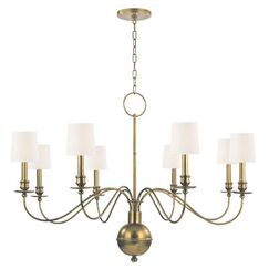 Erby 8-Light Shaded Chandelier Finish: Aged Brass, Shade Color: White