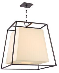 Casner 4-Light Square/Rectangle Pendant Shade Color: Cream, Finish: Old Bronze
