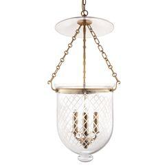 Hampton 3-Light Urn Pendant Glass Pattern: Diamond, Finish: Polished Nickel