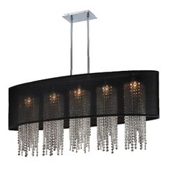Kenlee Oval Shaded Strand 5-Light Kitchen Island Pendant Shade Color: Black
