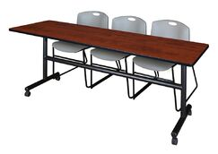 84'' W Marin Training Table with Chairs Tabletop Finish: Cherry/Gray
