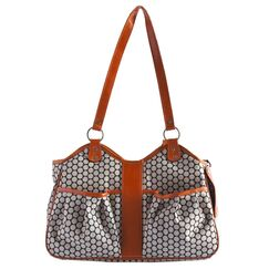 Petote Metro Espresso Dot Pet Carrier with Leather Trim Leather Trim: Tangerine, Size: Small (9