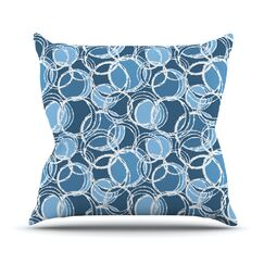 Simple by Julia Grifol Throw Pillow Color: Blue, Size: 18
