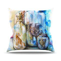 Bottled Animals Throw Pillow Size: 26