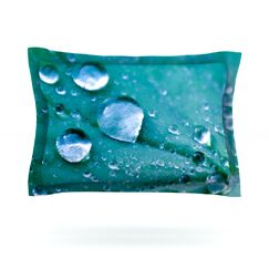 Water Droplets by Iris Lehnhardt Featherweight Pillow Sham Color: Aqua, Size: Queen, Fabric: Cotton