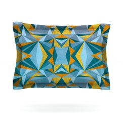 Featherweight Pillow Sham Color: Blue/Gold, Size: Queen