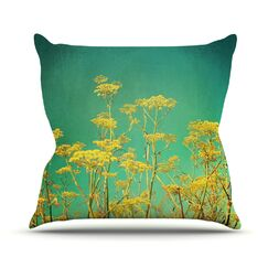 Flowers by Sylvia Cook Sky Throw Pillow Size: 16