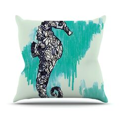Seahorse by Sonal Nathwani Throw Pillow Size: 18