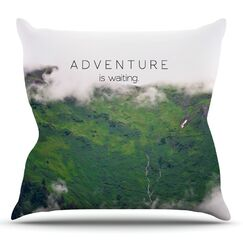 Adventure is Waiting by Ann Barnes Mountain Throw Pillow Size: 18'' H x 18'' W x 1