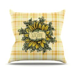 Sunflower Sunshine Throw Pillow Size: 26'' H x 26'' W