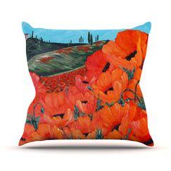 Poppies Throw Pillow Size: 16