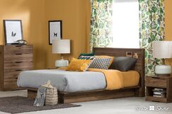 Holland Queen Platform Bed Color: Natural Walnut