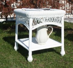 Camacho Glass Top Side Table Finish: White