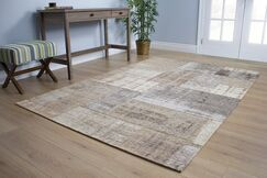 Emory Gray/Cream Distressed Patchwork Rug Rug Size: 5'1
