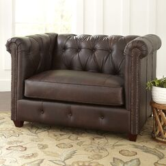 Hawthorn Leather Chair Body Fabric: Vintage Flint, Nailhead Detail: Pewter