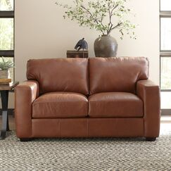 Pratt Leather Loveseat Body Fabric: Steamboat Charcoal