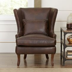 Solomon Wingback Chair Body Fabric: Steamboat Putty, Nailhead Detail: Old Gold Spotted