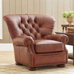 Miller Club Chair Body Fabric: Durango Gunmetal, Nailhead Detail: Old Gold