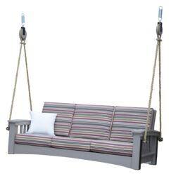 Days End Sofa Rope Porch Swing Cushion Fabric: Harwood Crimson, Finish: Weatherwood