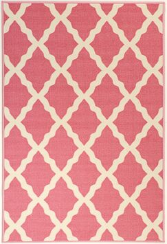 Staunton Machine Woven Pink Area Rug