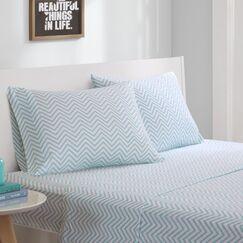 Giese Jersey Knit Sheet Set Size: Twin XL, Color: Blue Chevron