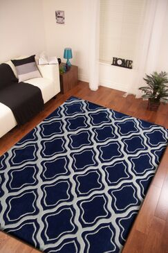 Lamphear Hand-Tufted Gray/Blue Indoor Area Rug Size: Rectangle 5' x 7'