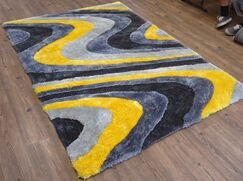 Quijada Hand-Tufted Gray/Yellow Area Rug