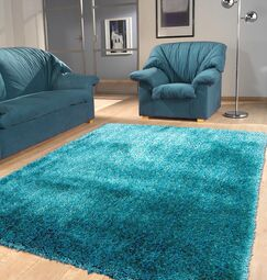 Port Pirie Shag Hand Tufted Turquoise Area Rug Rug Size: Rectangle 4' x 5'4