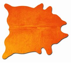 Plainsboro Handmade Orange Cowhide Area Rug