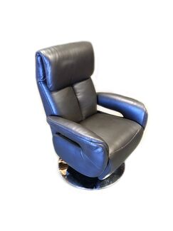 Manteo Leather Power Swivel Recliner Upholstery: Brown, Reclining Type: Power