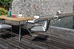 Reef 180 Aluminum Dining Table Base Finish: Anthracite / Cross Bar Anthracite, Top Finish: Nordic Black HPL