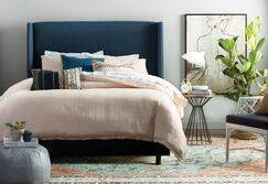 Alrai Upholstered Panel Bed Size: California King, Color: Zuma Navy