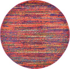 Lilian Red Area Rug Rug Size: Round 6'