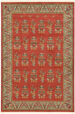 Foret Noire Red Area Rug Rug Size: Rectangle 6' x 9'