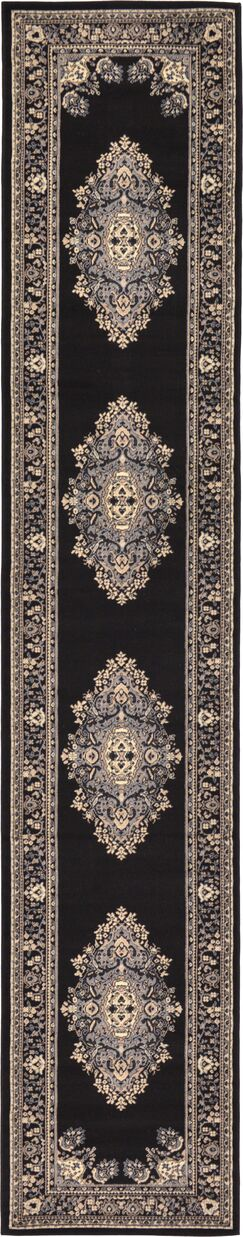 Britain Black Area Rug Rug Size: Runner 3' x 16'5