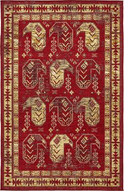 Bhakta Red/Gold/Ivory Area Rug Rug Size: Rectangle 6' x 9'