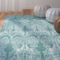 Allen Hand-Tufted Teal Area Rug Rug Size: Rectangle 8' x 10'