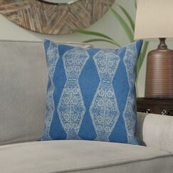 Soluri Pyramid Striped Geometric Outdoor Throw Pillow Color: Blue, Size: 18