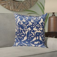 Tatum Polyester Pillow Cover Color: Wheat/Navy, Size: 22