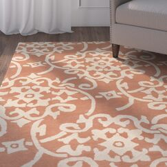 Millwood Hand-Tufted Peach/Cream Area Rug Rug Size: Rectangle 8' x 11'