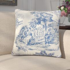 Wellhead Toile Cotton Throw Pillow Color: Blue, Size: 24