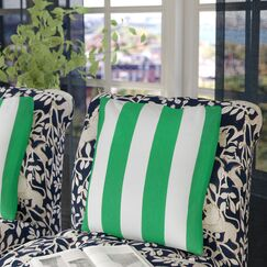 Thorne Striped 100% Cotton Throw Pillow Color: Green