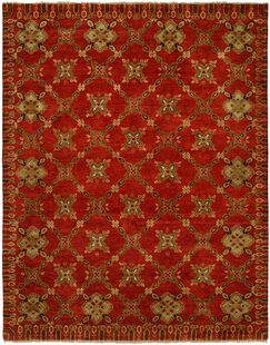 Hershel Hand Knotted Wool Red Area Rug Rug Size: Rectangle 4' x 6'