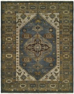 Mccarville Hand Knotted Wool Blue/Olive Area Rug Rug Size: Runner 2'6