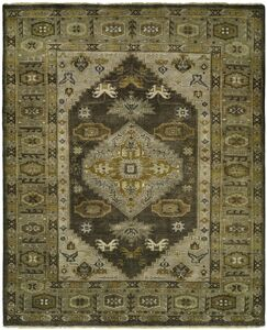 McCandlish Hand Knotted Wool Gray/Olive Area Rug Rug Size: Rectangle 9' x 12'
