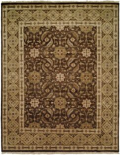 Maxine Hand Knotted Wool Brown/OliveArea Rug Rug Size: Rectangle 3' x 5'
