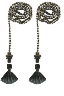 Fan Pull Chain with Seashell Finial Color: Antique