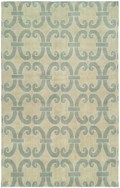 Andover Hand-Knotted Wool Beige/Blue Area Rug Rug Size: Rectangle 8' x 10'