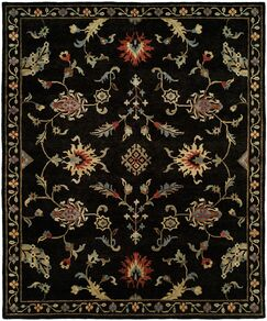 Pranay Hand Knotted Wool Black Area Rug Rug Size: Rectangle 9' x 12'